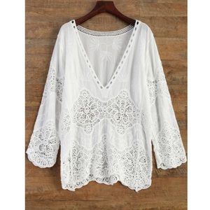 White lace beach coverup